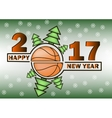 happy new year and basketball vector image vector image