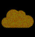 hexagon halftone cloud icon vector image