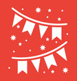 holiday flags garlands glyph icon new year vector image