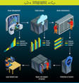 isometric data center infographic concept vector image vector image