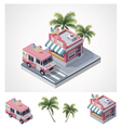 isometric ice cream store and truck vector image vector image