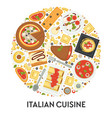 italian cuisine menu pizza and pasta food of vector image vector image