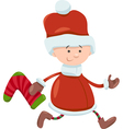 kid santa claus christmas cartoon vector image