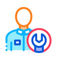 mechanic wrench icon outline vector image