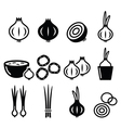 Onion spring onions icons set vector image vector image