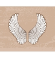 Pair of white wings in vintage style vector image