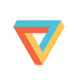 penrose triangle icon in three colors geometric vector image vector image