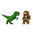 pixel art 8 bit objects characters dinosaur and vector image