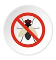 Prohibition sign flies icon flat style vector image vector image