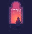 religious muslim man kneeling praying ramadan vector image vector image