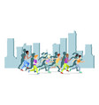 running people in city world vector image vector image