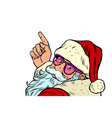 santa claus is pointing merry christmas and happy vector image