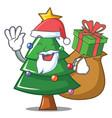 santa with gift christmas tree character cartoon vector image vector image