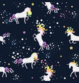 seamless pattern with space unicorns graphics vector image