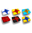 set multicolored gift boxes with bows vector image vector image