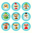 set of christmas cartoon stickers with cute childr vector image vector image