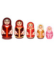 Set russian wooden nesting doll traditional retro