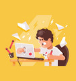 stressed angry young man crashed laptop at work vector image vector image