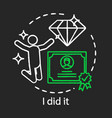 successful learning end concept chalk icon vector image vector image