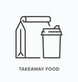 takeaway food flat line icon outline vector image