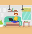 teenage girl sitting on sofa using laptop computer vector image