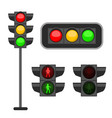 traffic light led lights red yellow and vector image vector image