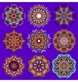 violet colour circle lace ornament vector image vector image