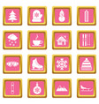 winter icons pink vector image vector image