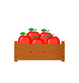 wooden box with red appleswooden box with red vector image vector image