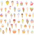 Ice cream set funny design - hand drawn vector image