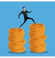 man business on coin money pile vector image