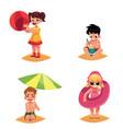 babies kids children on the beach sea summer vector image