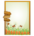 A framed empty signage with wooden arrowboards vector image vector image