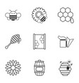 apiculture icons set outline style vector image vector image