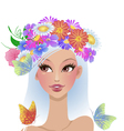 beautiful girl with flowers on her head vector image