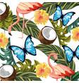 beautiful tropical flowers cartoon vector image vector image