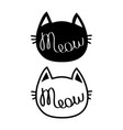 black cat head silhouette contour set meow vector image