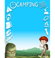 Border design with boy and camping gears vector image vector image