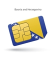 Bosnia and Herzegovina phone sim card with flag vector image vector image