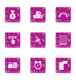 cash attention icons set grunge style vector image vector image