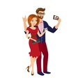 Cheery handsome man and woman in red dress are vector image vector image