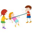 Children walking under the stick vector image vector image