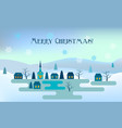 christmas greeting card night winter landscape vector image vector image