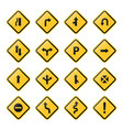 collection yellow road signs vector image
