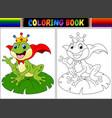 coloring book king frog cartoon vector image vector image