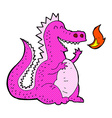 comic cartoon fire breathing dragon vector image