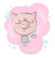 cute little pig character with cup of coffee or vector image vector image