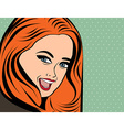 cute retro woman with long red hair in comics vector image