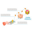 earn points for purchase diagram flat vector image vector image