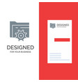 folder setting gear computing grey logo design vector image